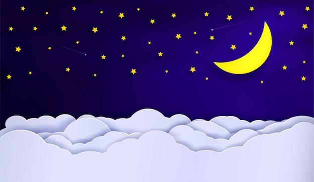 Vectoren van de hemel tijdens de nacht.
