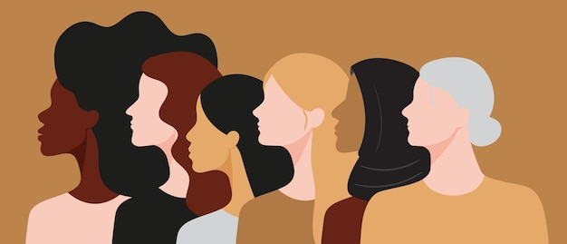 Vectorfeminismeconcept met vrouwen van verschillende rassen en leeftijd die samen staan