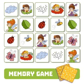 Vectorgeheugenspel voor kinderen, kaarten met feeën en natuurlijke voorwerpen Premium Vector