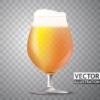 Vectorglas van beer met geïsoleerde de illustratie van tarweoren