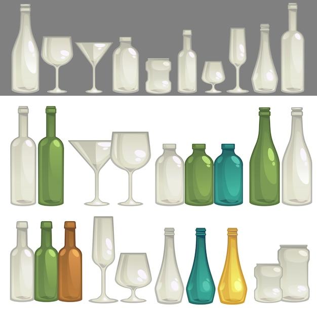Vectorglazen en flessen voor drank.