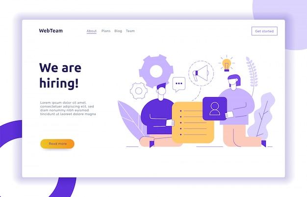 Vectorgroepswerk en bedrijfsstrategieweb-pagina banner