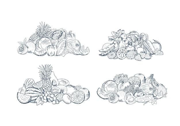 Vectorhand geschetste vruchten en groentenstapels geplaatst die op witte achtergrond, inzameling van natuurvoedingillustratie worden geïsoleerd