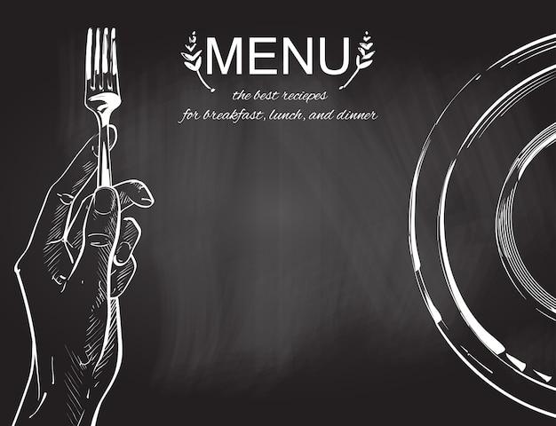 Vectorhanden die een mes en een vork houden