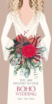 Vectorhuwelijksuitnodiging met bruid en boeket, boheemse stijl