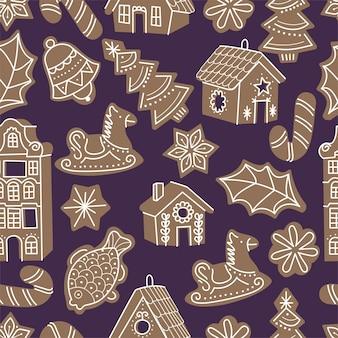 Vectorillustartioninzameling van peperkoekhuizen. leuke naïeve kersthoningcakes. naadloze patroon.
