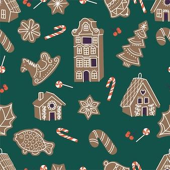 Vectorillustartionverzameling van peperkoekkoekjes schattig naïef kersthoningcakes naadloos patroon