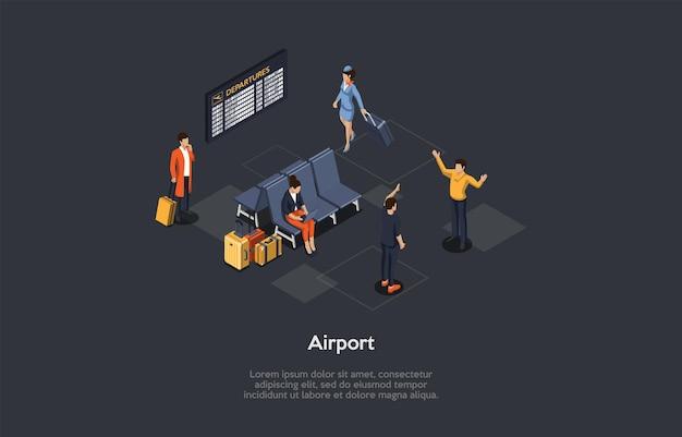 Vectorillustratie, cartoon 3d-stijl. isometrische samenstelling, luchthaven conceptueel ontwerp met schrijven. binnenelementen, infographics. groep mensen. passagiers wachten op vlucht, stewardess wandelen
