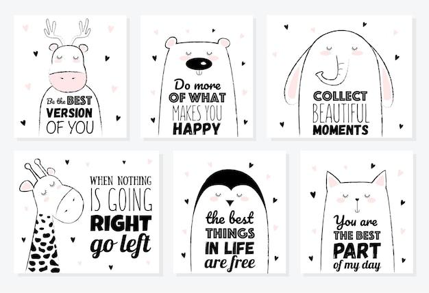 Vectorillustratie cartoon schets eenhoorn met motivatie belettering zin. perfect voor ansichtkaarten, valentijnsdag, jubileum, verjaardag, babyboek