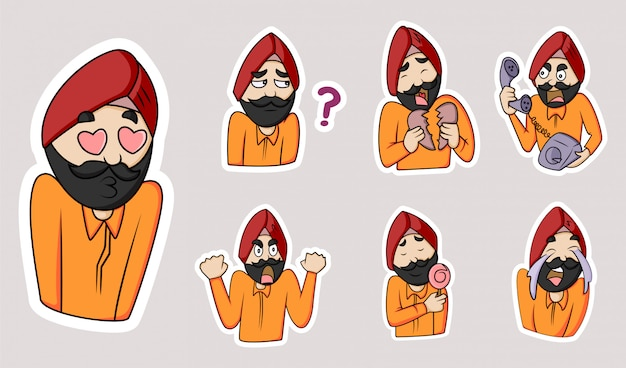Vectorillustratie cartoon van de man van punjabi.