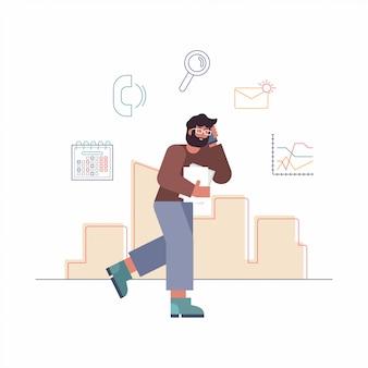 Vectorillustratie cartoon van drukke zakenman. de bedrijfsmens loopt met smartphone, bespreekt zaken en resultaten. iconen van telefoongesprekken, zoeken, plannen in agenda, berichten, grafieken.