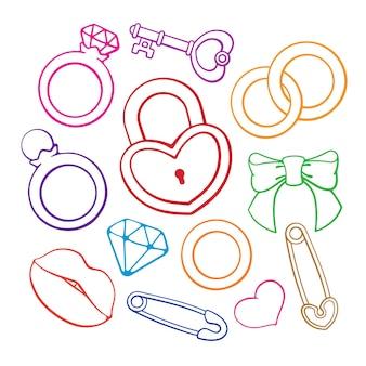 Vectorillustratie ceremoniële verlovings- en huwelijkssymbolen handgetekende set doodles