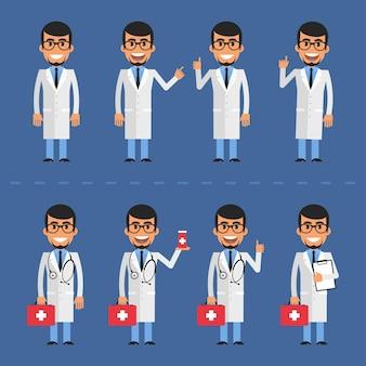 Vectorillustratie, doctor karakter in verschillende poses, eps-10 formaat.