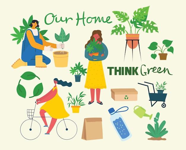 Vectorillustratie eco-achtergronden van concept van groene eco-energie en citaat save the planet, think green en waste recycle in de vlakke stijl