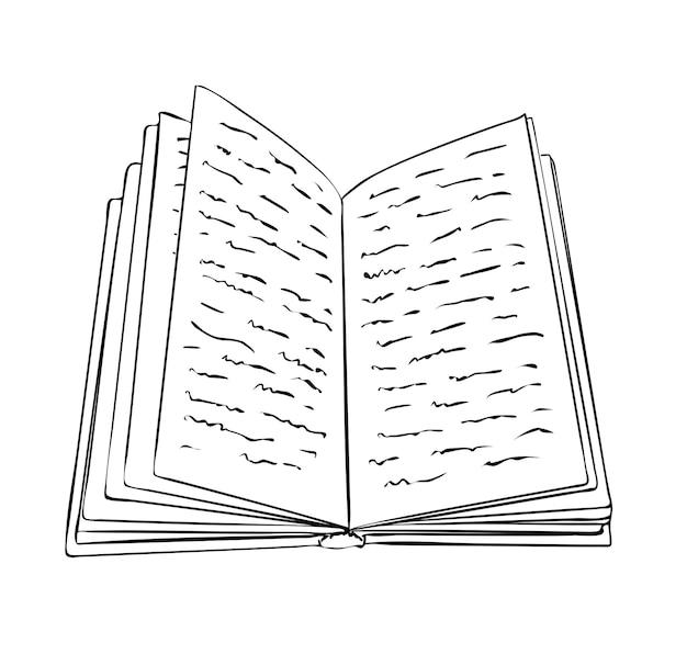 Vectorillustratie, geïsoleerd open boek met krabbels in zwart-witte kleuren, schets handgeschilderde tekening