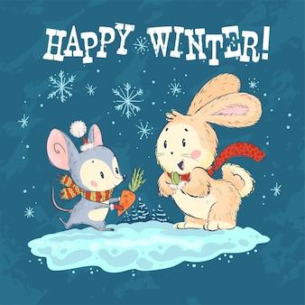 Vectorillustratie gelukkig winter met schattige kleine muis en bunny tekens op besneeuwde blauwe achtergrond. handgetekende stijl. grappige dieren voor kaarten, kinderboeken, prenten, kleding, kinderkamer, interieur.