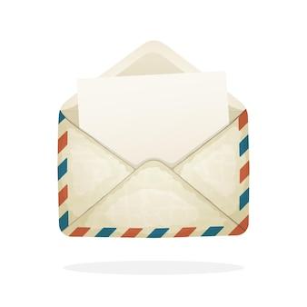 Vectorillustratie geopende vintage mailenvelop van oud papier inkomend bericht is gelezen