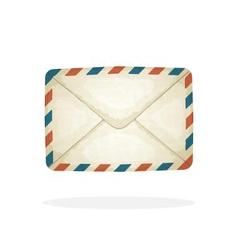 Vectorillustratie gesloten vintage mailenvelop van oud papier inkomend bericht niet gelezen