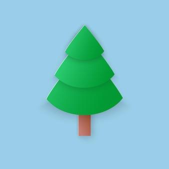 Vectorillustratie, groene kerstboom in papercut stijl met transparante schaduwen geïsoleerd op blauwe achtergrond
