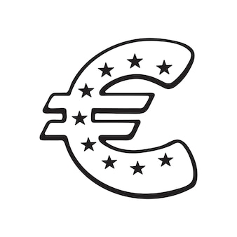 Vectorillustratie hand getrokken doodle van euroteken met sterren het symbool van wereldvaluta