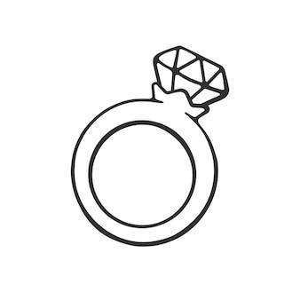 Vectorillustratie hand getrokken doodle van ring met een diamant cartoon sketch