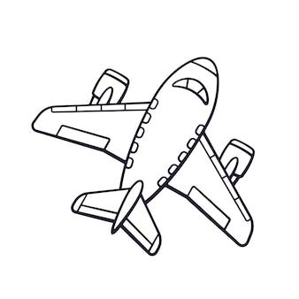 Vectorillustratie hand getrokken doodle van speelgoedvliegtuig reizen per vliegtuig transport