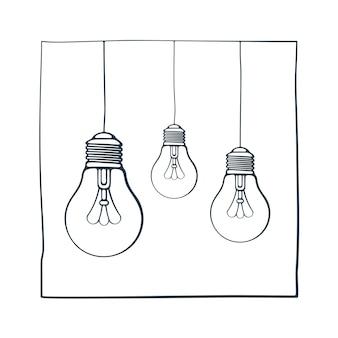 Vectorillustratie hand getrokken ink schets met drie gloeilampen symbool van idee nieuwe oplossing