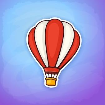 Vectorillustratie hete luchtballon in rode en witte strepen op de lucht luchtvervoer sticker
