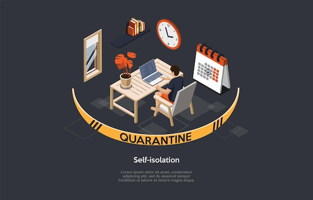 Vectorillustratie in cartoon 3d-stijl. isometrische samenstelling op donkere achtergrond met tekst. zelfisolatie, pandemische quarantaine, thuisblijven concept. coronavirus preventie. karakter en interieur.