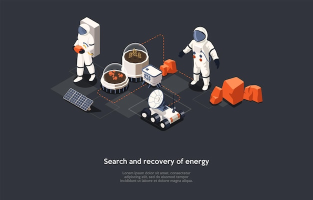 Vectorillustratie in cartoon 3d-stijl. isometrische samenstelling op energie zoeken en herstel concept. donkere achtergrond, tekens, tekst. ideeën voor alternatieve voeding, futuristische kosmische wetenschappelijke studie