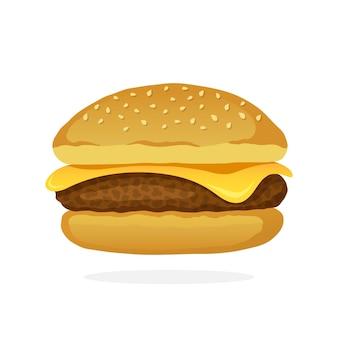 Vectorillustratie in cartoon-stijl cheeseburger met vlees en kaas ongezond voedsel