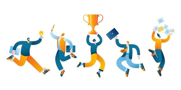Vectorillustratie in een vlakke stijl op het thema van het succes van teamwork