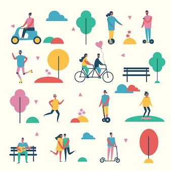 Vectorillustratie in plat ontwerp van groepsmensen buiten in het park in het weekend in de vlakke stijl