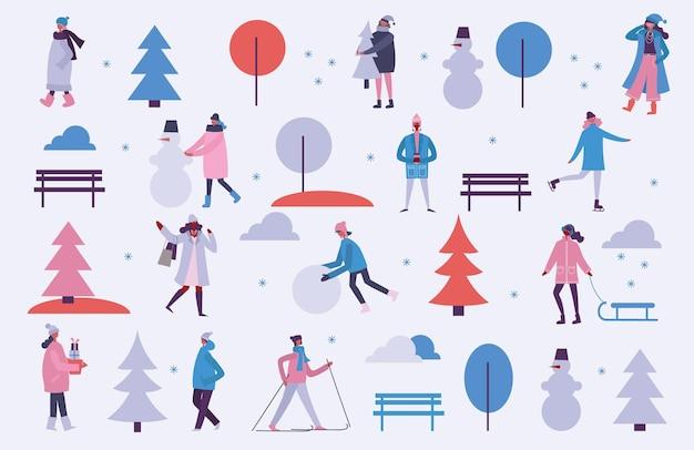 Vectorillustratie in plat ontwerp van winterseizoen achtergrond met mensen buiten in het minimalistische platte ontwerp