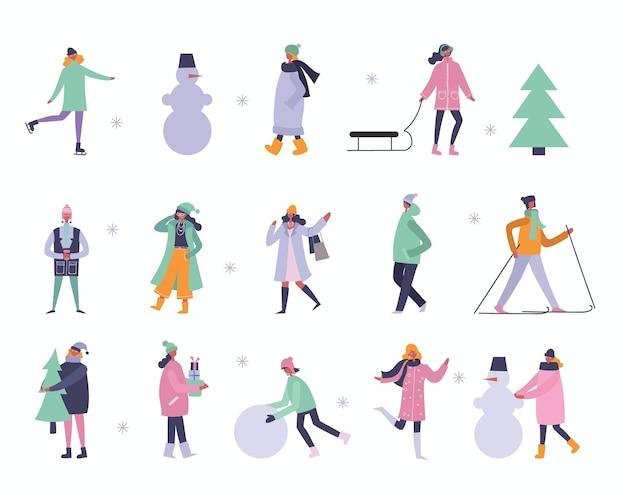 Vectorillustratie in plat ontwerp van winterseizoen achtergrond met mensen buiten in het platte ontwerp
