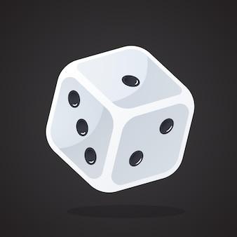 Vectorillustratie in vlakke stijl een gokdobbelsteen sportuitrusting