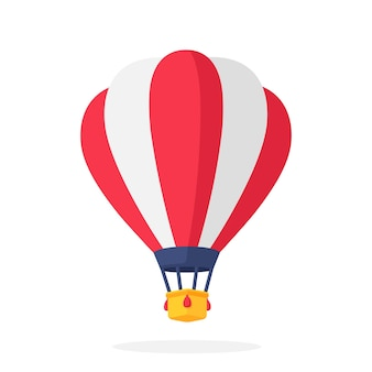 Vectorillustratie in vlakke stijl heteluchtballon met rode en witte strepen luchttransport