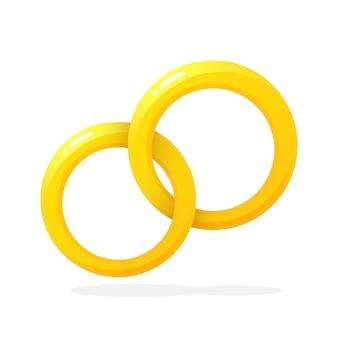 Vectorillustratie in vlakke stijl twee gouden trouwring