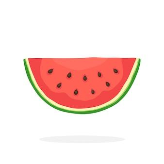 Vectorillustratie in vlakke stijl watermeloenplak gezond vegetarisch eten