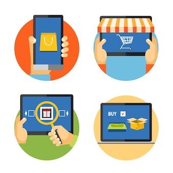Vectorillustratie internet winkelen pictogrammen in vlakke stijl: zoeken, betalen, levering
