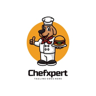 Vectorillustratie logo chef-kok expert mascotte cartoon stijl.