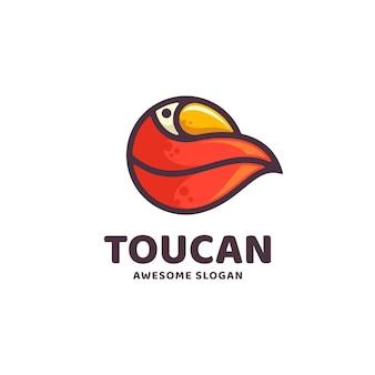 Vectorillustratie logo toucan eenvoudige mascotte stijl.
