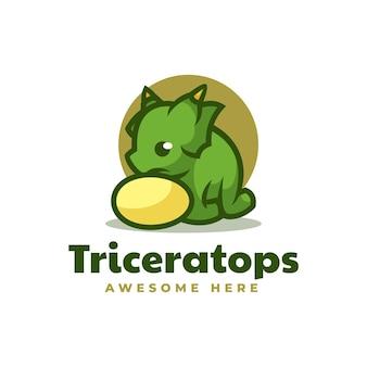 Vectorillustratie logo triceratops eenvoudige mascotte stijl.