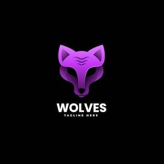 Vectorillustratie logo wolf kleurovergang kleurrijke stijl.