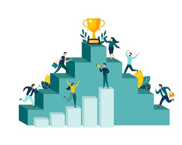 Vectorillustratie, mensen rennen naar hun doel, omhoog met motivatie, naar het doel.