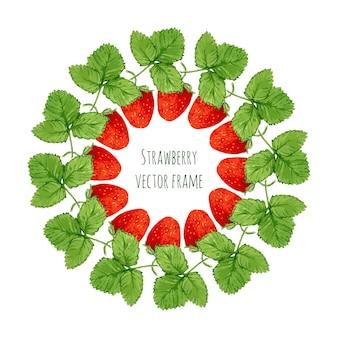 Vectorillustratie met aquarel aardbeien frame. hand getrokken bes voor boeren markt, kruidenthee, eco productontwerp, zeep pakket, enz. organische tuin decoratie