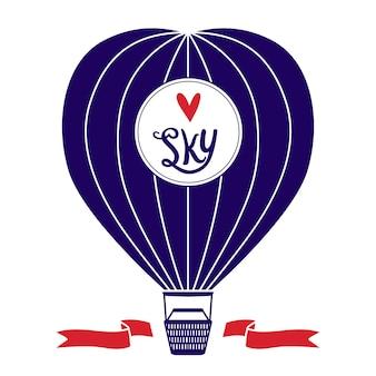 Vectorillustratie met decoratie hete luchtballon