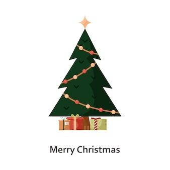 Vectorillustratie met een kerstboom en geschenken. nieuwjaar platte pictogram