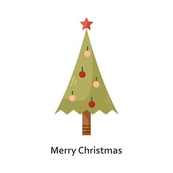 Vectorillustratie met een kerstboom. nieuwjaar platte pictogram