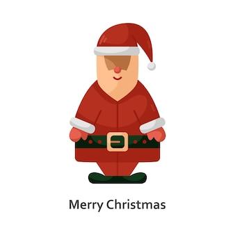 Vectorillustratie met een kerstman. nieuwjaar platte pictogram